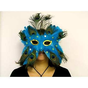 Feathered Mask Blue With Sequin Eyes With Ostrich Feather Plume (1)