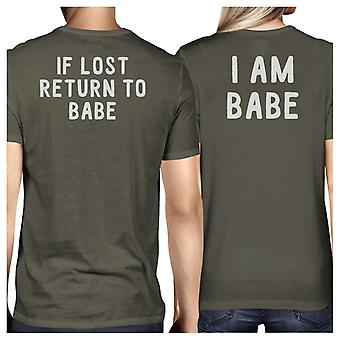 If Lost Return To Babe Dark Grey Matching Shirts Funny Couples Gift