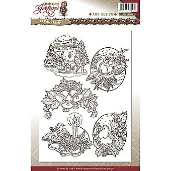 Find It Trading Amy Design Clear Stamp-Christmas Greetings