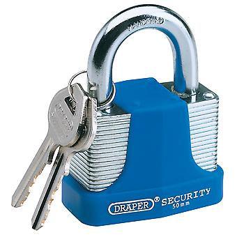 Draper 64182 50mm Laminated Steel Padlock & 2 Keys with Hardened Steel Shackle