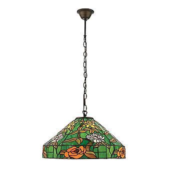 Interiors 1900 Agapantha Green Tiffany Glass Ceiling Pendant Lamp