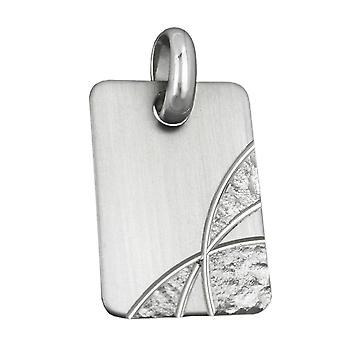 Rhodium-plated pendant pendant square engraving plate matt diamond cut 925 Silver