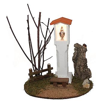 Madonna figure way Madonna wayside cross with Bank L lighted Nativity accessories