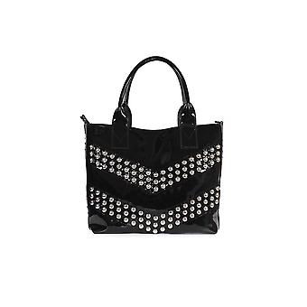 PINKO BLACK PATENT SIRINO LARGE SHOPPER