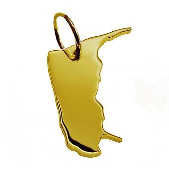 Anhänger Landkarte Kettenanhänger in gold gelb-gold in der Form von AMRUM