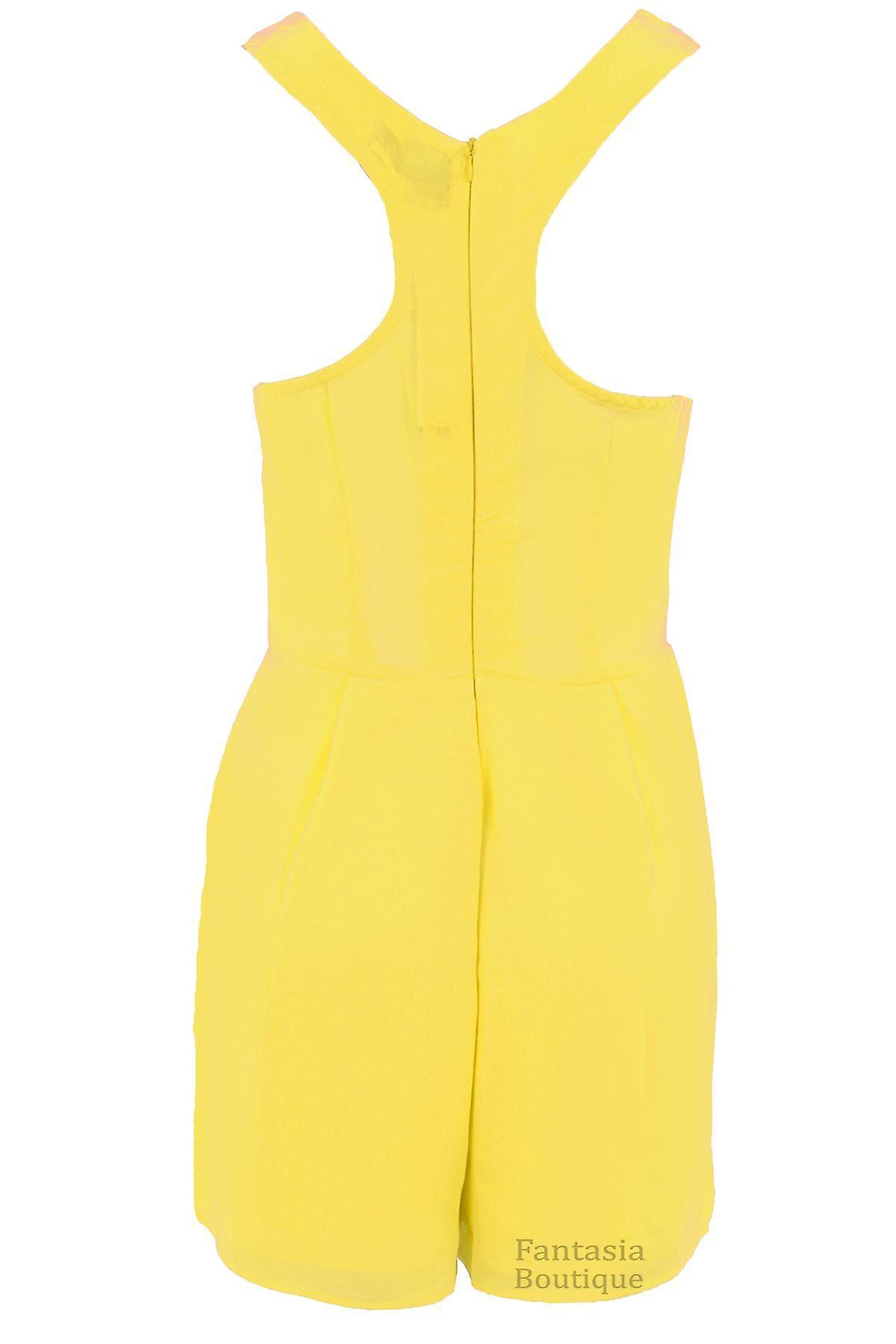 Ladies Sleeveless Racer Back Chiffon Lined V Neck Zip Back Party Shorts Playsuit