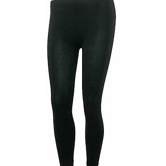 Ladies varme strikket termisk ankel lengde Footless Leggings store/Xlarge Black