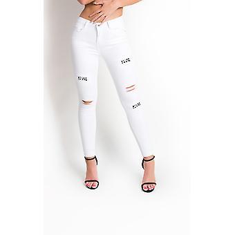 IKRUSH Womens Liya déchiré Jeans Skinny embelli