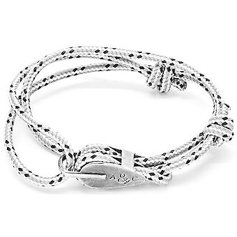 Anchor and Crew Tyne Silver and Rope Bracelet - Grey Dash
