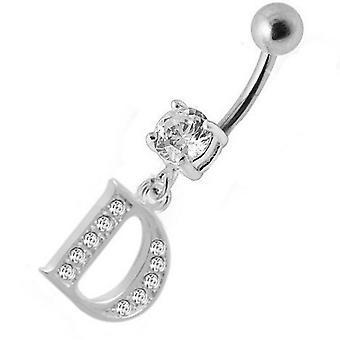 Barra del vientre ombligo Piercing 925 plata esterlina, joyería del cuerpo, letra inicial | D