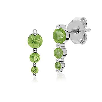 Gemondo Sterling Silver Three Stone Peridot Round Gradient Earring