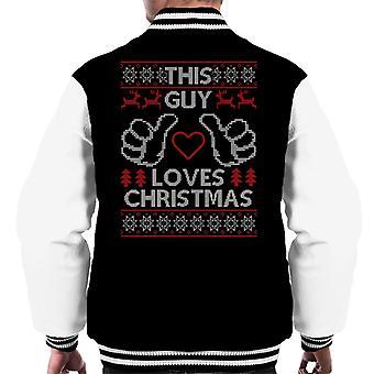 This Guy Loves Christmas Knit Pattern Men's Varsity Jacket