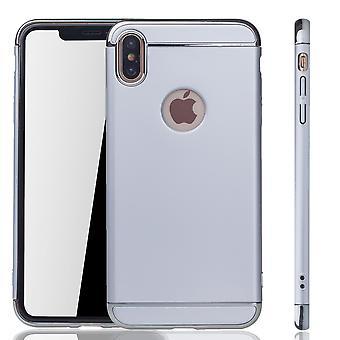 Apple iPhone XS Max Handy Hülle Schutz Case Bumper Hard Cover Silber