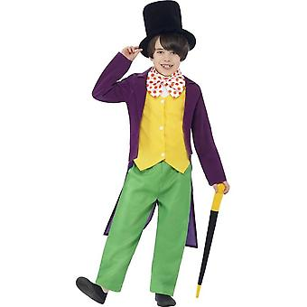 Roald Dahl Willy Wonka Costume, Green & Yellow, with Top, Trousers, Bow Tie, Hat & Cane