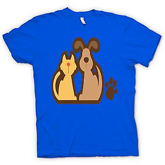 Womens T-shirt - Cat And Dog Cartoon Drawing