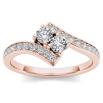 IGI CERTIFIED 14k Rose Gold 3/4ct TDW Diamond Two-Stone Ring  (I-J, I2)