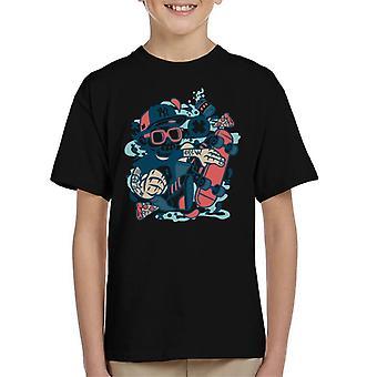 Skateboard kraniet mand børne T-Shirt