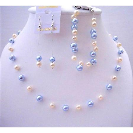 Swarovski Blue & Ivory Pearls Handcrafted Bridal Bridesmaid Jewelry