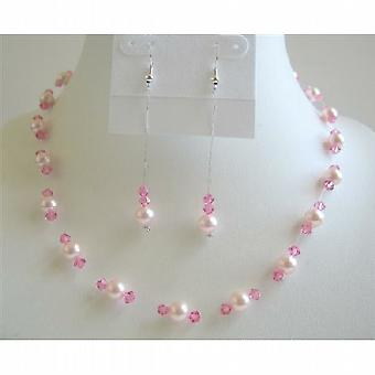 Sexy Pink Pearls Crystals Jewelry Set Swarovski Pearl Crystal Necklace