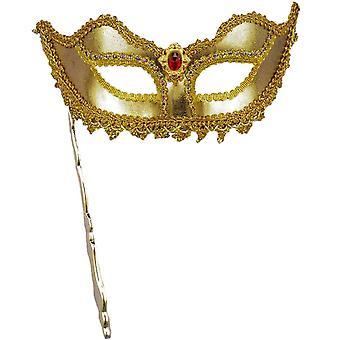 Mascarada máscara Ven palo oro
