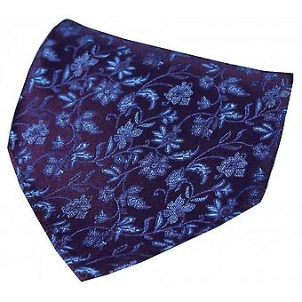 David Van Hagen Small Flowers Silk Handkerchief - Red/Blue
