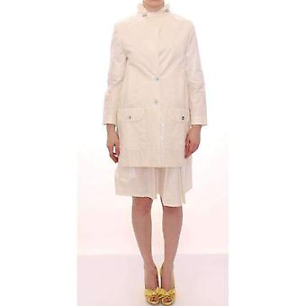 Licia Florio White Viscose Button Front Jacket Coat Trench -- MOM1746245
