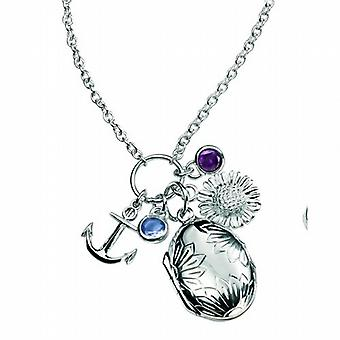 Elements Sterling Silver Amethyst and Tanzanite Cz Locket Cluster Pendant