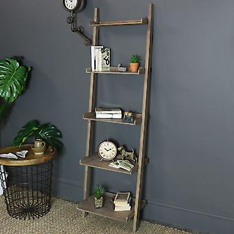 Rustic Leaning Ladder Bookcase Shelving Unit