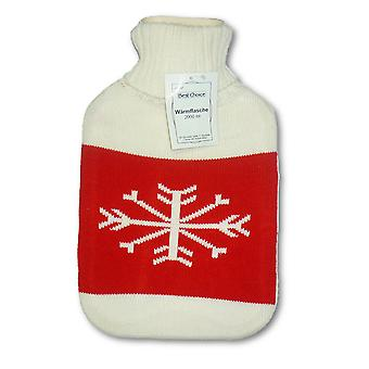 Cream Snowflake 2L Knitted Cover Hot Water Bottle