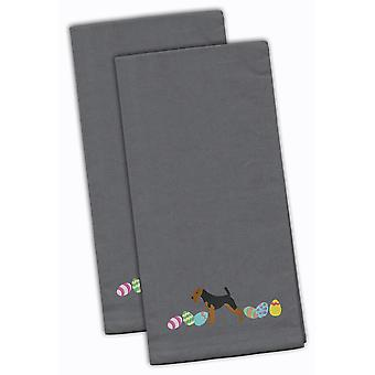 Welsh Terrier Easter Gray Embroidered Kitchen Towel Set of 2