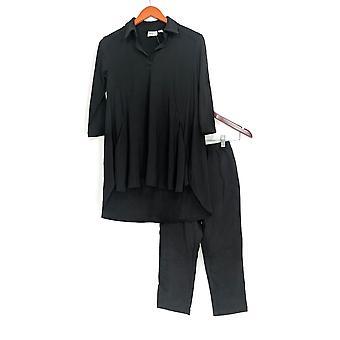 Vrouwen met controle Petite instellen crêpe Jersey tuniek & Pant Zwart A290084