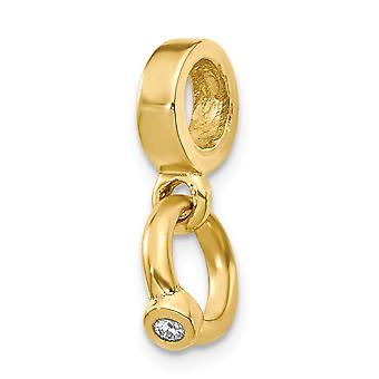 14k Yellow Gold Polished Reflections Cubic Zirconia Engagement Ring Dangle Bead Charm