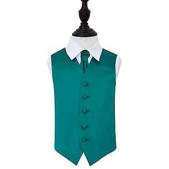 Boy's Teal Plain Satin Wedding Waistcoat & Cravat Set