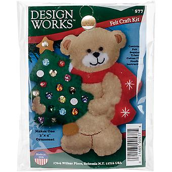 Bear & Tree Ornament Felt Applique Kit-3