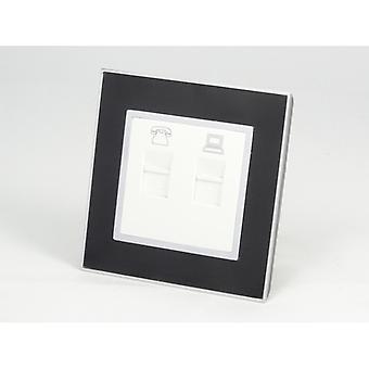 Jeg LumoS som luksus sort spejl glas enkelt telefon + Internet Socket