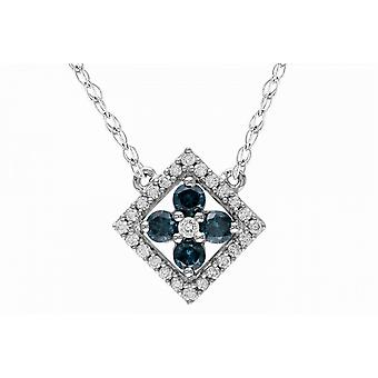 Affici 18ct White Gold Plated Sterling Silver Necklace with Blue Sapphire & Diamond CZ Gems
