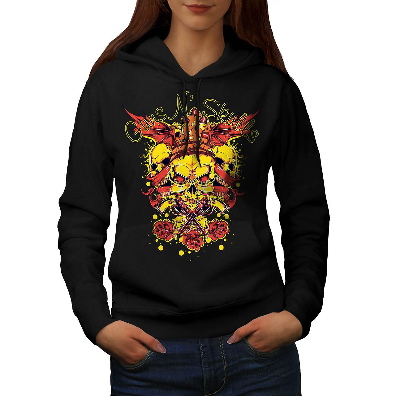 Guns And Skulls Brawl King Demon Women Black Hoodie | Wellcoda