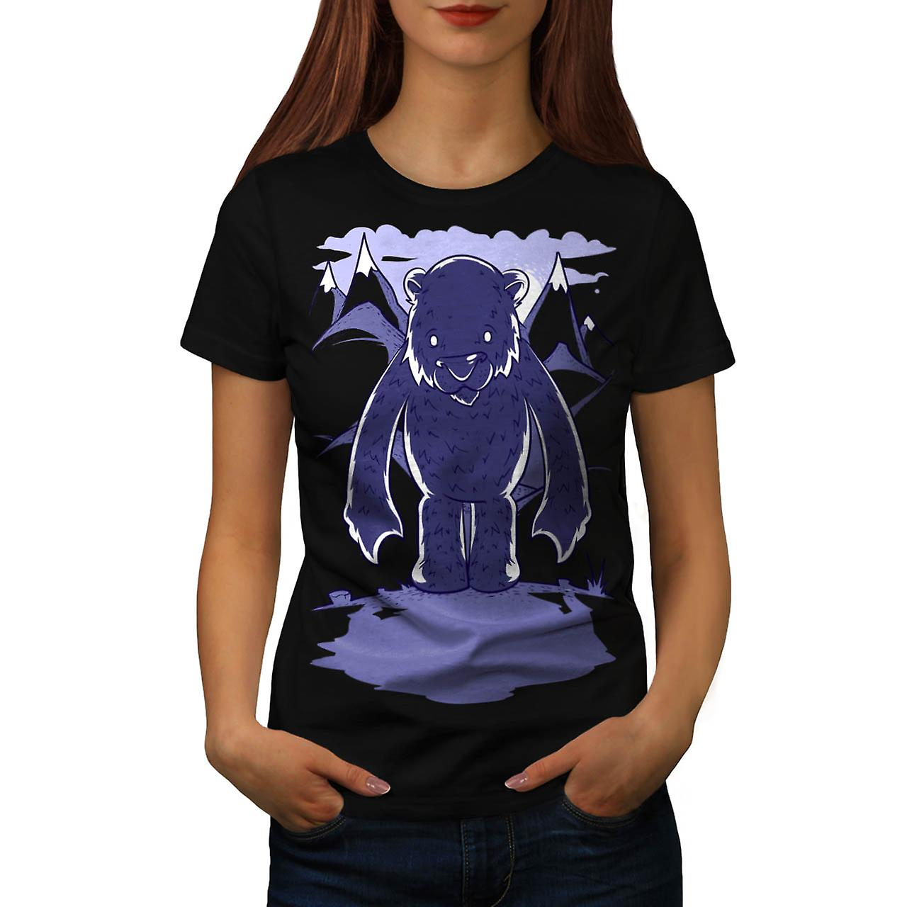 Polar Bear Danger Game Camp Site Women Black T-shirt | Wellcoda