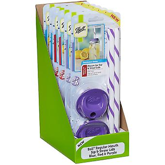 Ball Sip & Straw Lids 4/Pkg PDQ-Regular Mouth SS15001