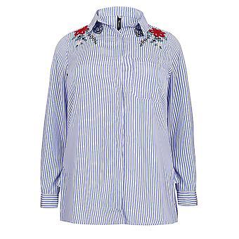 PAPRIKA blå & hvit Stripe skjorte med blomster broderi