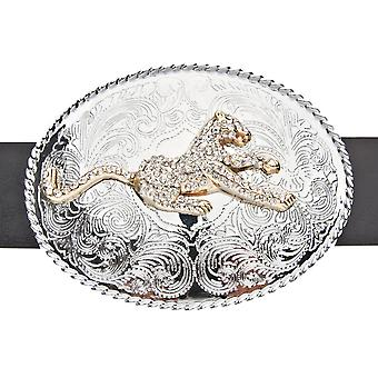 Iced out bling LEOPARD style Western belt