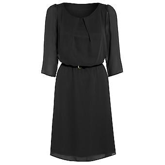 Damen Gürtel flowy chiffon-Kleid DR880-schwarz-14