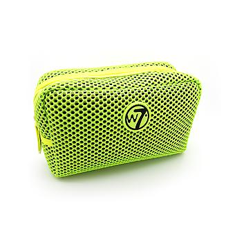 W7 Neon Green Mesh Small Cosmetic Toiletry Make Up Bag