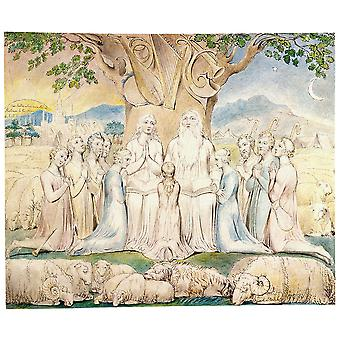 William Blake - Job and His Family Poster Print Giclee