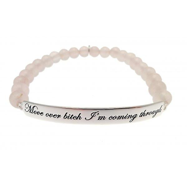 W.A.T Sterling Silver 'Move Over Bitch I'm Coming Through' Rose Quartz Bead Bracelet