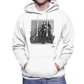 Ian Astbury And Renee Beach Motorbike White Men's Hooded Sweatshirt