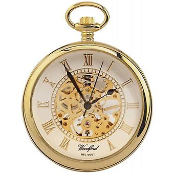 Woodford vergulde Open centrum skelet mechanische zakhorloge - goud