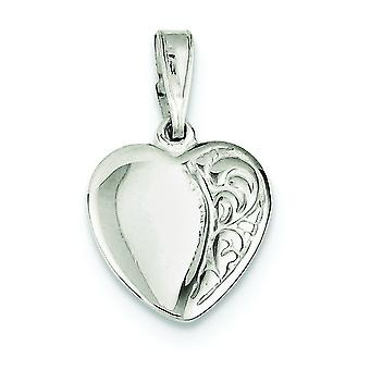Sterling Silver Flat Solid Polished Patterned Textured back Heart Pendant - 1.5 Grams