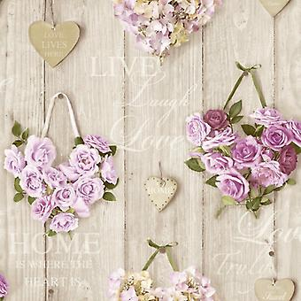 Roses Wallpaper Flower Floral Bouquet Hearts Wood Panel Lilac Vintage Natural
