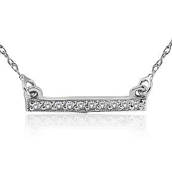 1/16ct Diamond Bar Pendant Necklace 14K White Gold